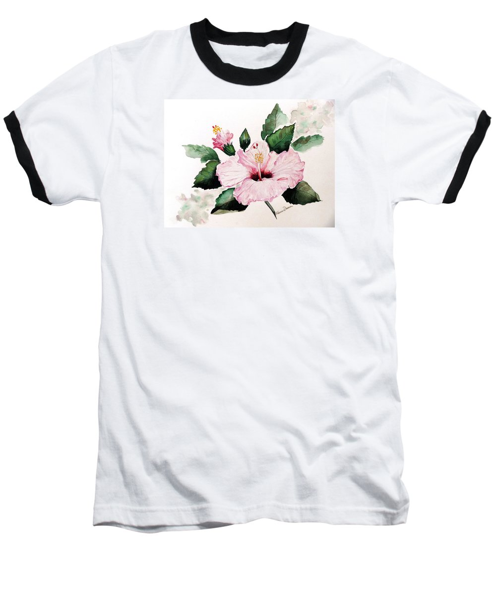 Hibiscus Painting  Floral Painting Flower Pink Hibiscus Tropical Bloom Caribbean Painting Baseball T-Shirt featuring the painting Pink Hibiscus by Karin Dawn Kelshall- Best
