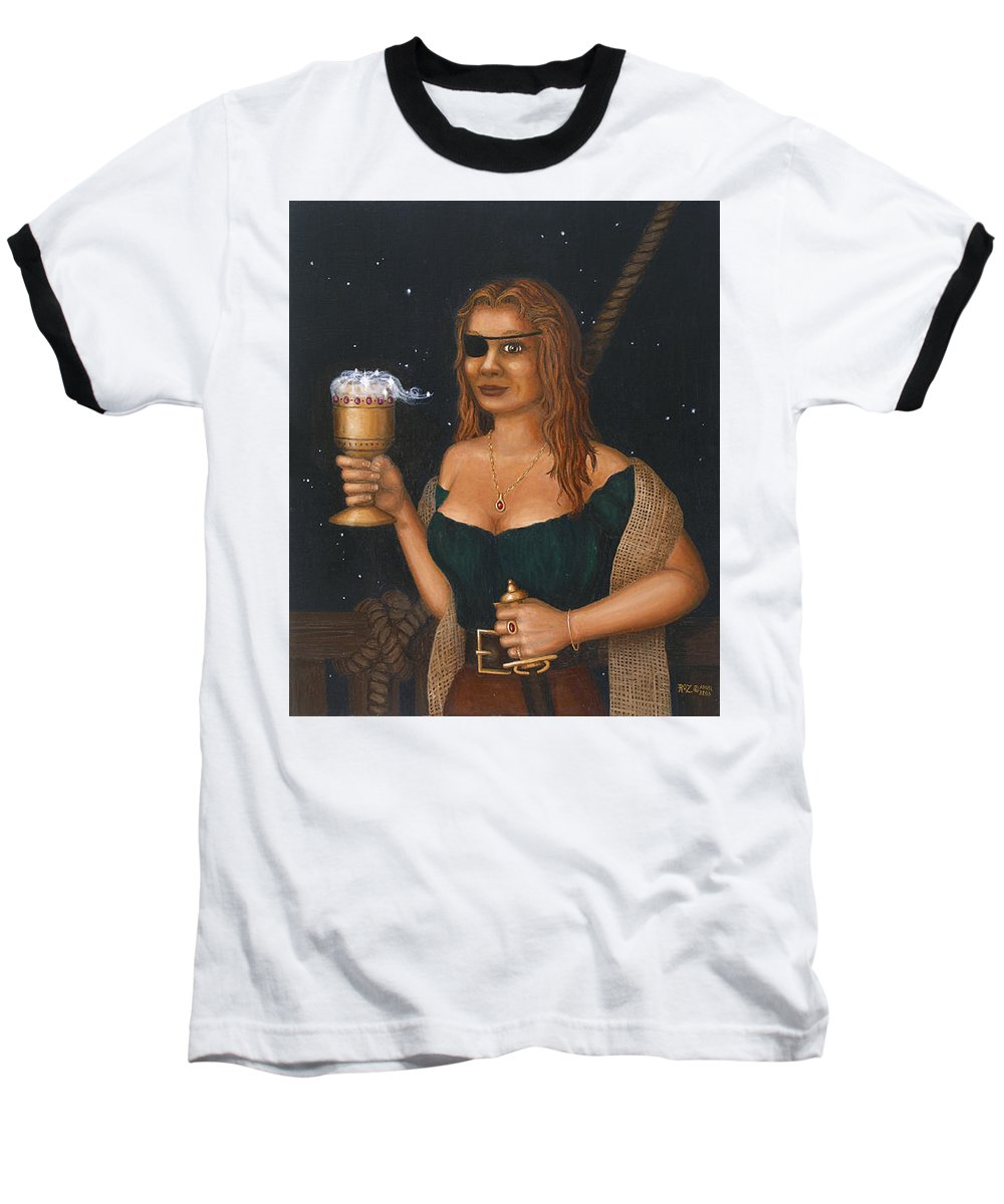 Fantasy Baseball T-Shirt featuring the painting Pirate Queen by Roz Eve