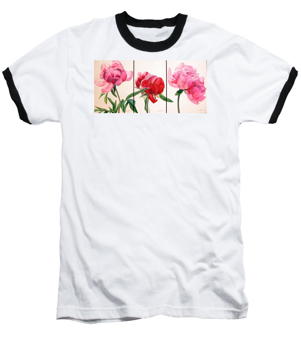 Floral Painting Baseball T-Shirt featuring the painting Pivoines by Muriel Dolemieux