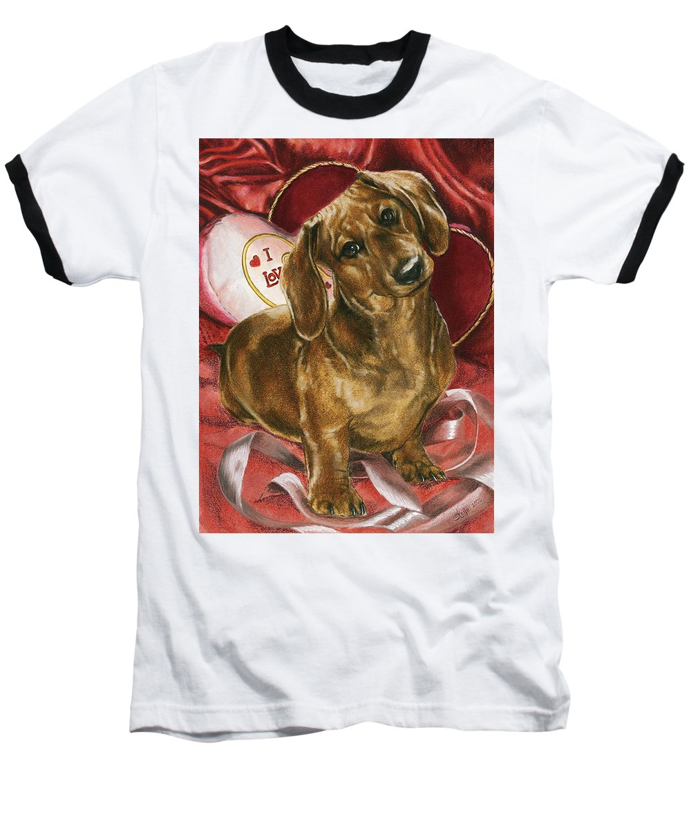 Purebred Baseball T-Shirt featuring the mixed media Please Be Mine by Barbara Keith
