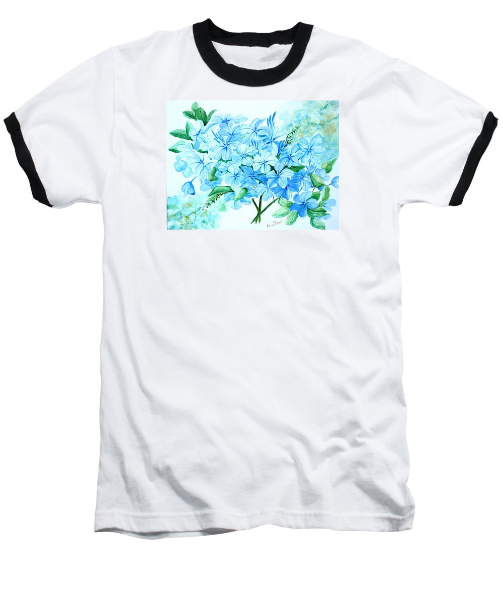 Floral Blue Painting Plumbago Painting Flower Painting Botanical Painting Bloom Blue Painting Baseball T-Shirt featuring the painting Plumbago by Karin Dawn Kelshall- Best