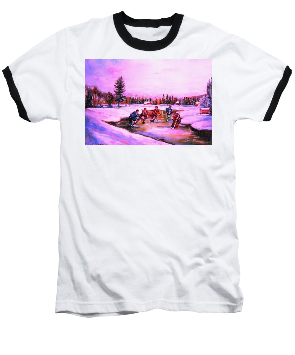 Hockey Baseball T-Shirt featuring the painting Pond Hockey Warm Skies by Carole Spandau