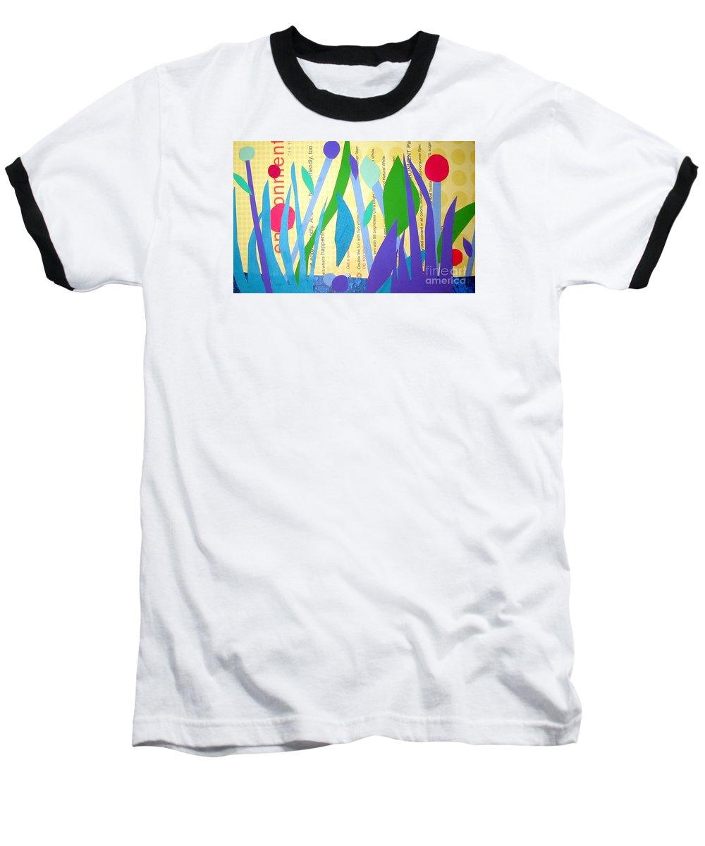 Landscape Baseball T-Shirt featuring the mixed media Pond Life by Debra Bretton Robinson