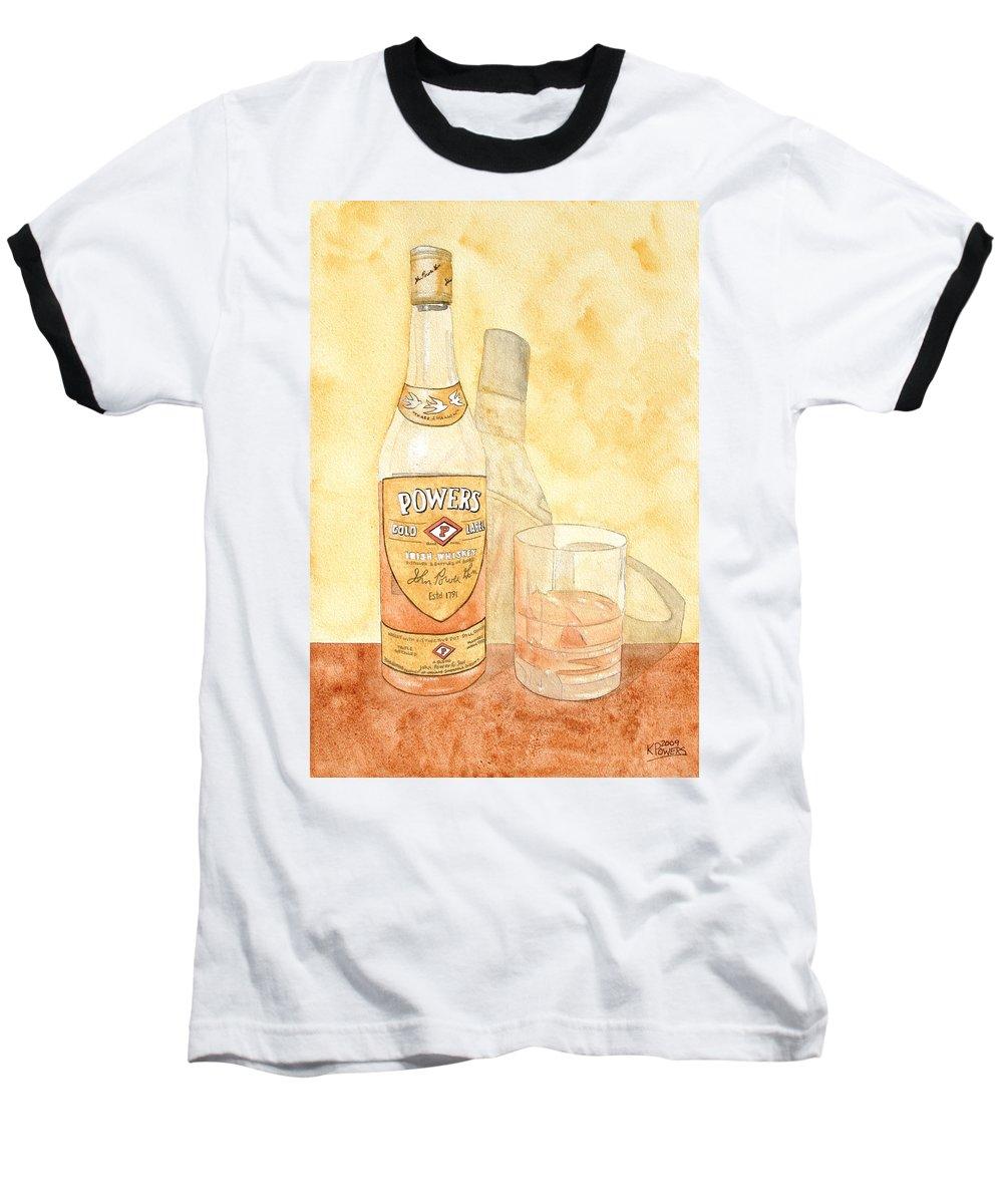 Irish Baseball T-Shirt featuring the painting Powers Irish Whiskey by Ken Powers