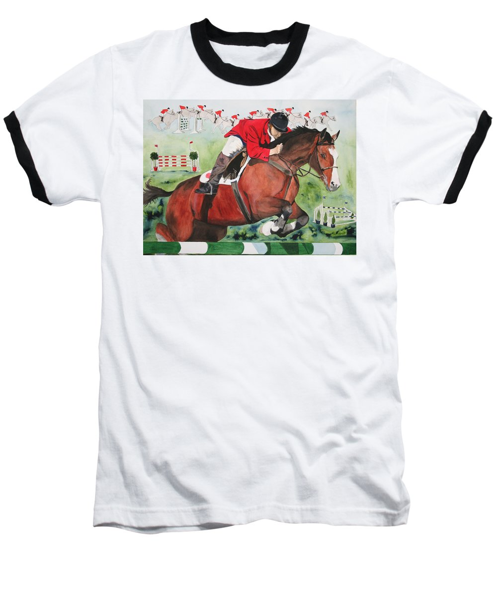 Horse Baseball T-Shirt featuring the painting Practice Makes Perfect by Jean Blackmer