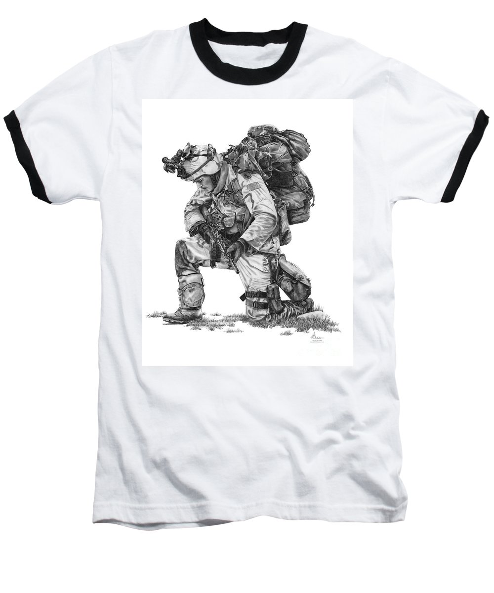 Pencil Baseball T-Shirt featuring the drawing Praying Soldier by Murphy Elliott
