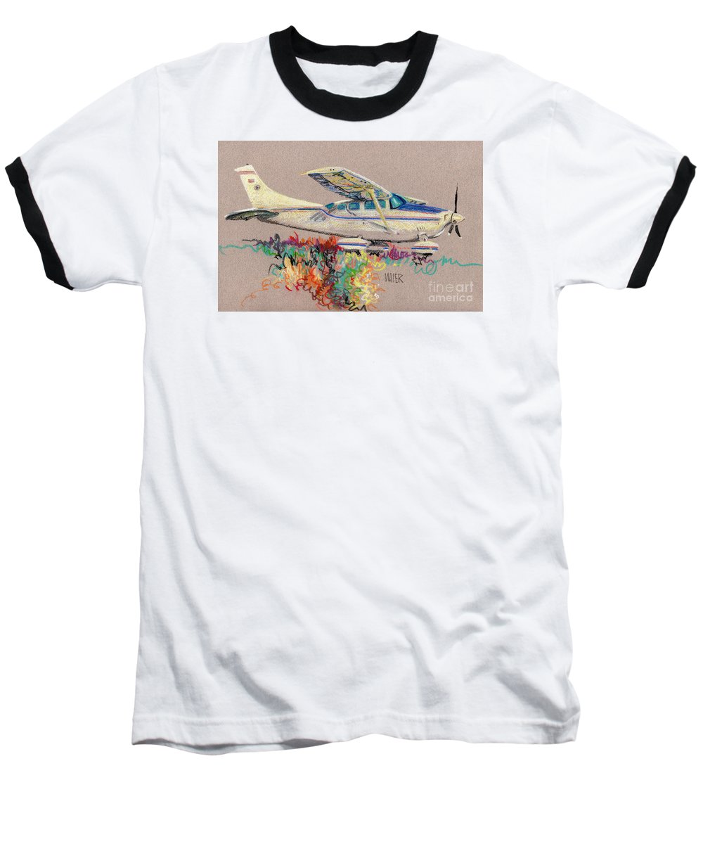 Small Plane Baseball T-Shirt featuring the drawing Private Plane by Donald Maier