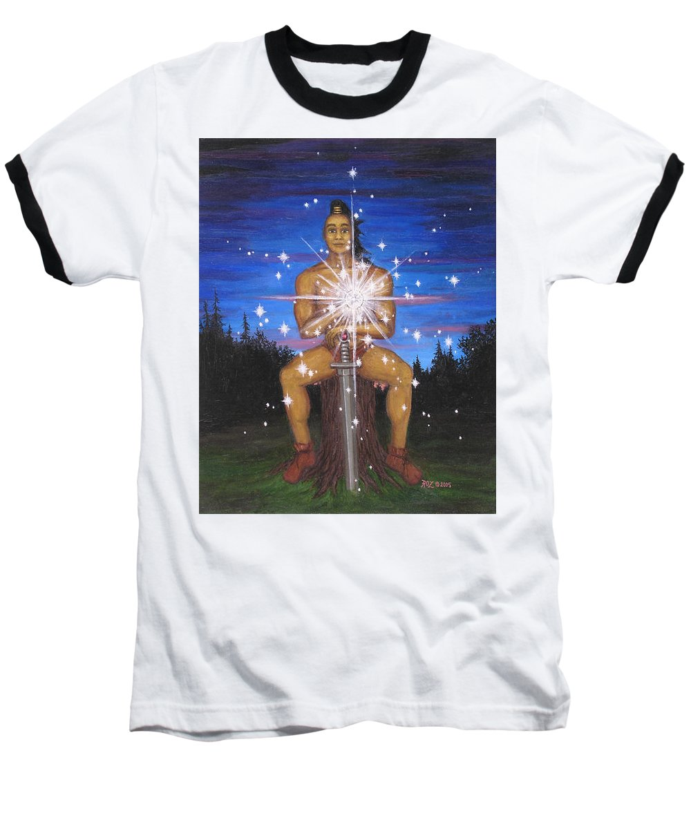 Fantasy Baseball T-Shirt featuring the painting Protector Of The Mystical Forest by Roz Eve