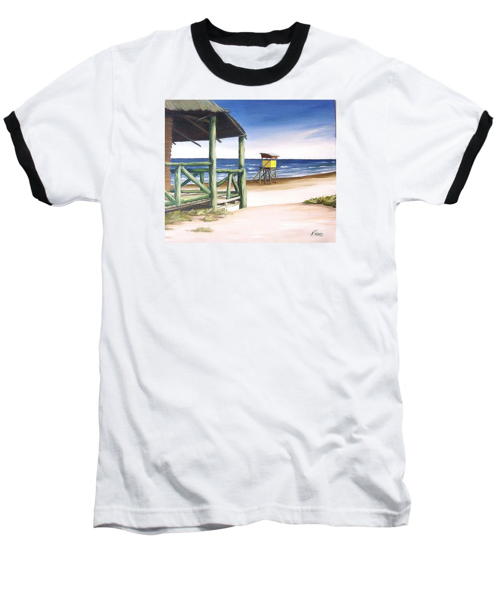 Seascape Beach Landscape Water Ocean Baseball T-Shirt featuring the painting Punta Del Diablo S Morning by Natalia Tejera