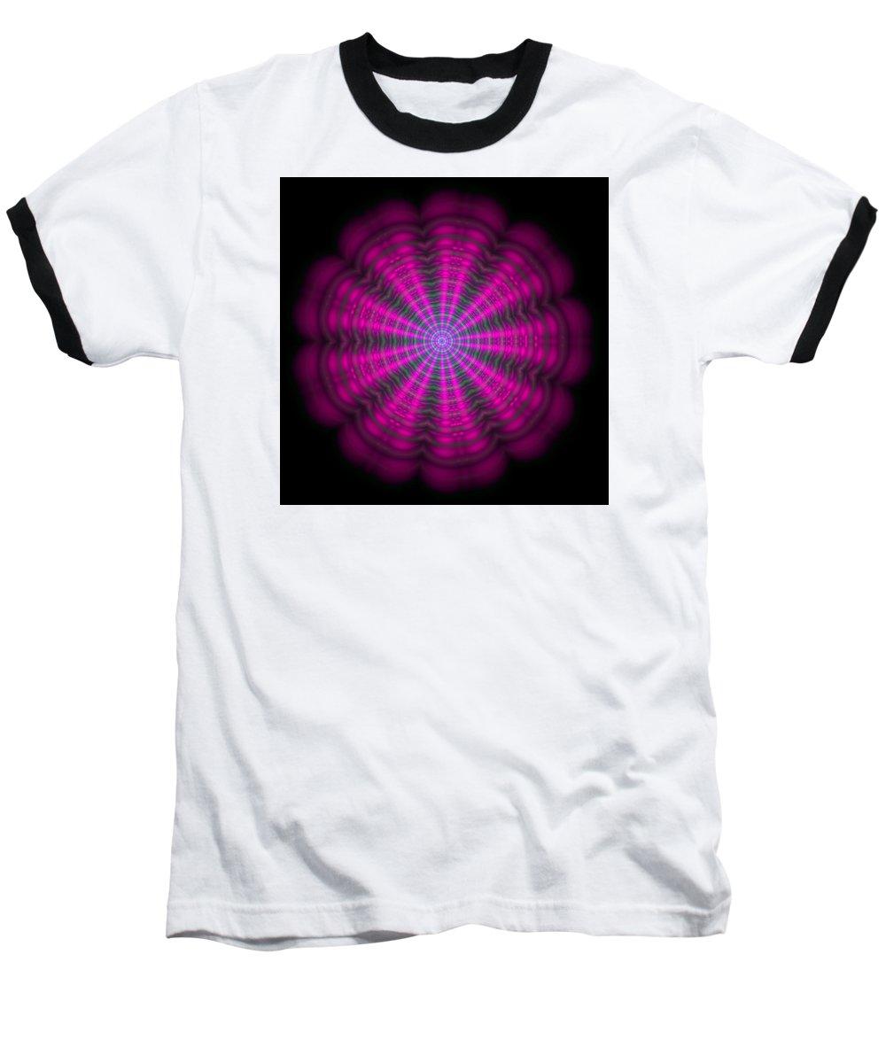 Mandala Baseball T-Shirt featuring the digital art Purple Lightmandala Ripples by Robert Thalmeier