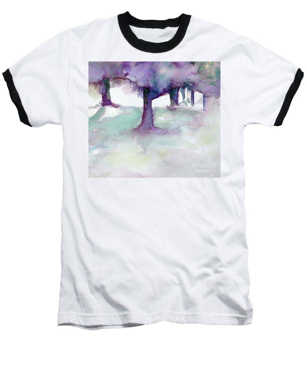 Landscape Baseball T-Shirt featuring the painting Purplescape II by Jan Bennicoff