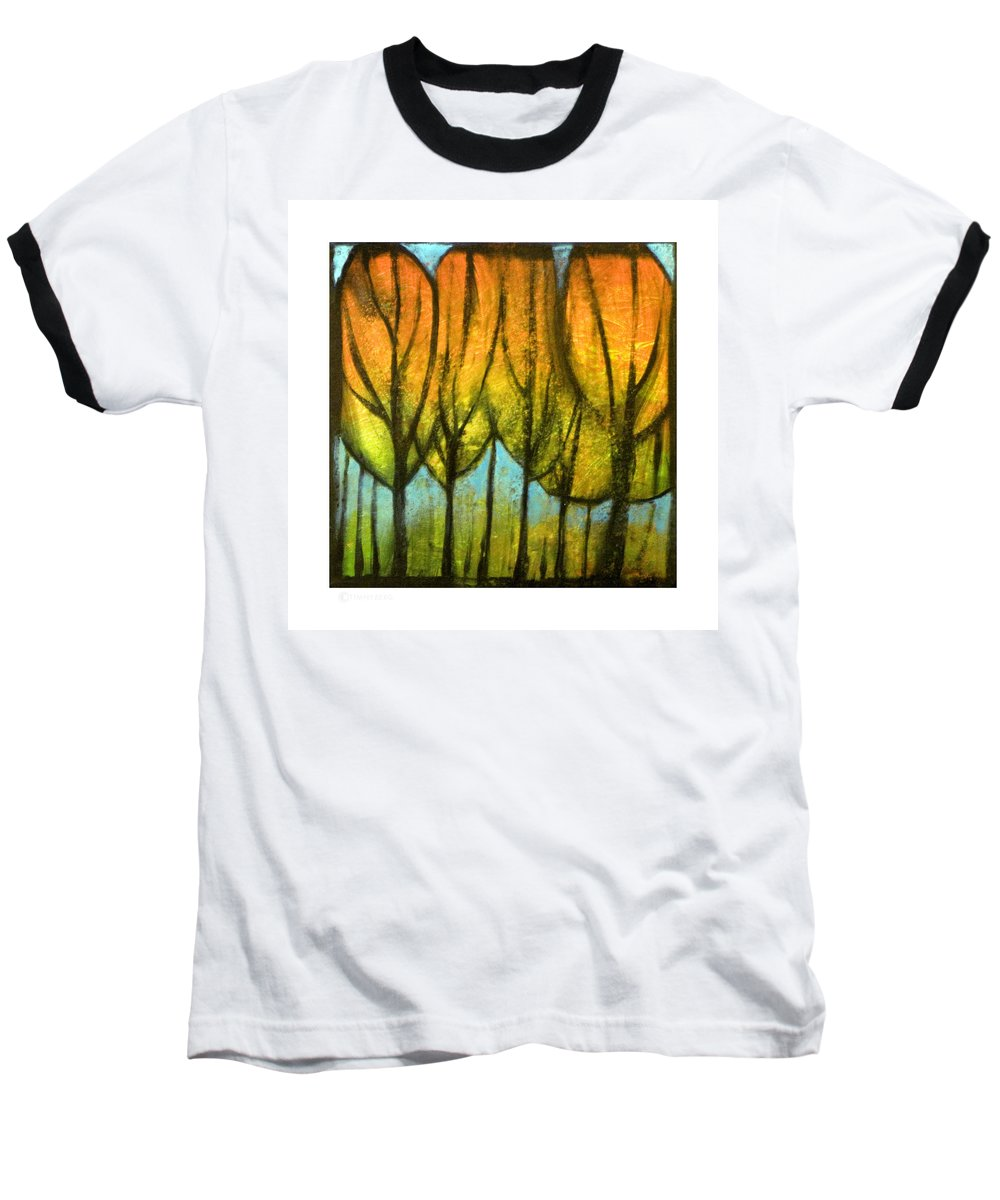Trees Baseball T-Shirt featuring the painting Quiet Blaze by Tim Nyberg