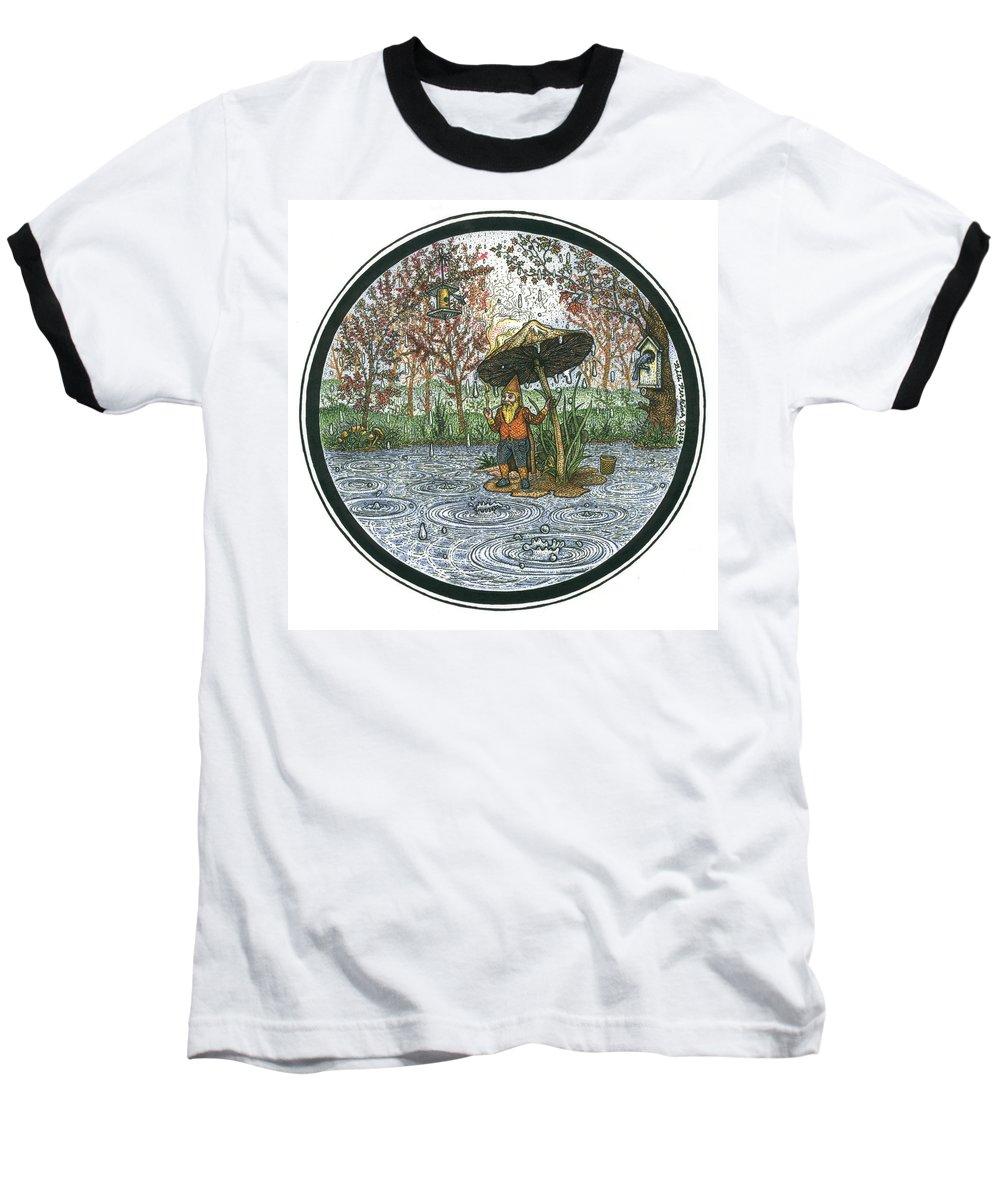 Rain Baseball T-Shirt featuring the drawing Rain Gnome Rain Circle by Bill Perkins