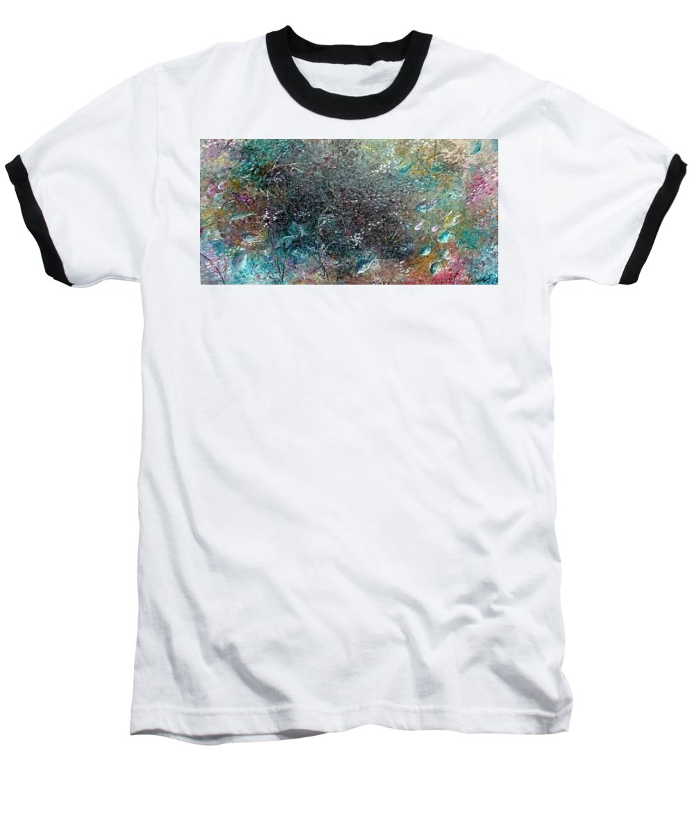 Original Abstract Painting Of Under The Sea Baseball T-Shirt featuring the painting Rainbow Reef by Karin Dawn Kelshall- Best