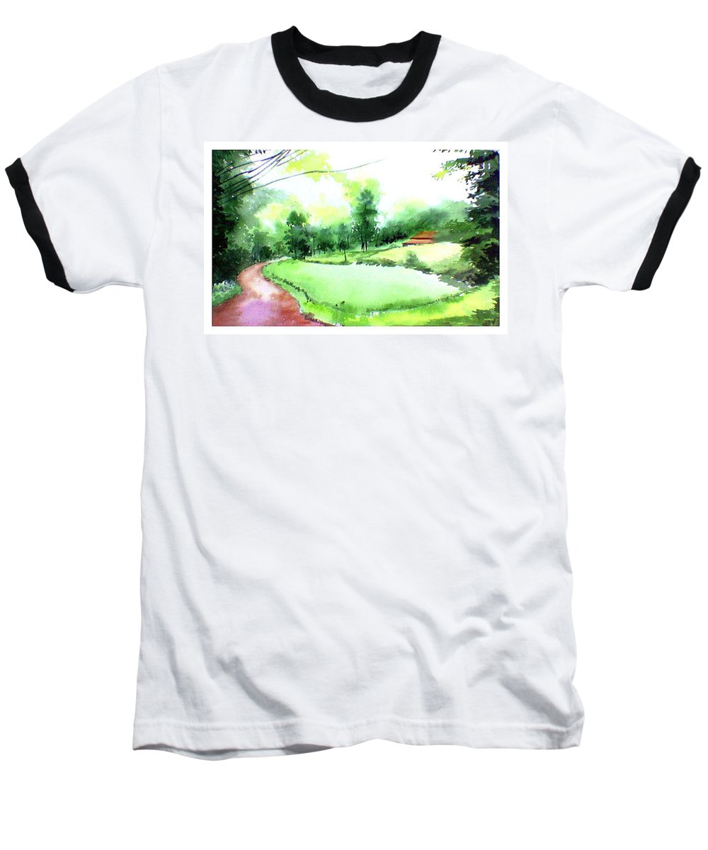 Landscape Baseball T-Shirt featuring the painting Rains In West by Anil Nene