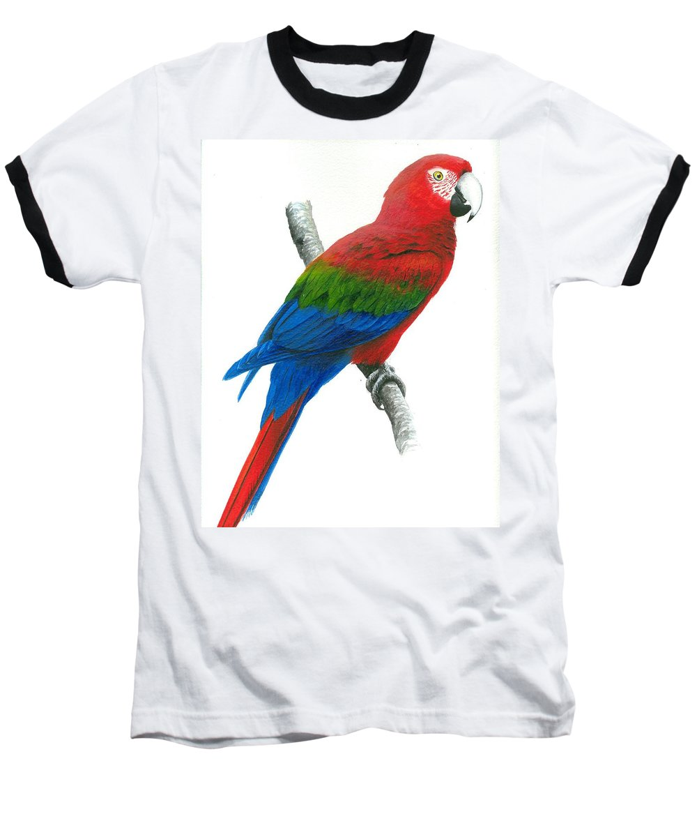 Chris Cox Baseball T-Shirt featuring the painting Red And Green Macaw by Christopher Cox
