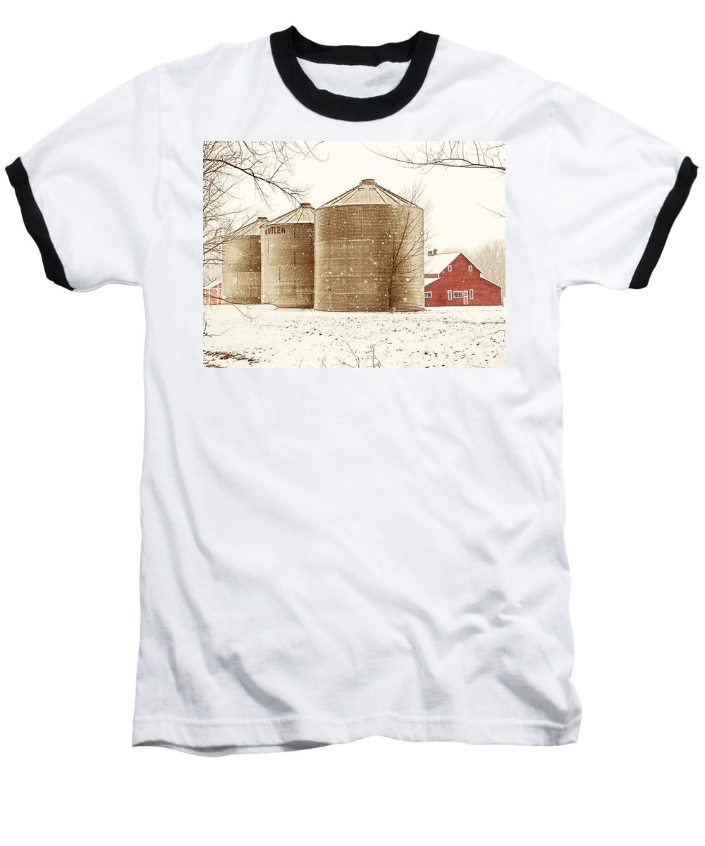 Americana Baseball T-Shirt featuring the photograph Red Barn In Snow by Marilyn Hunt