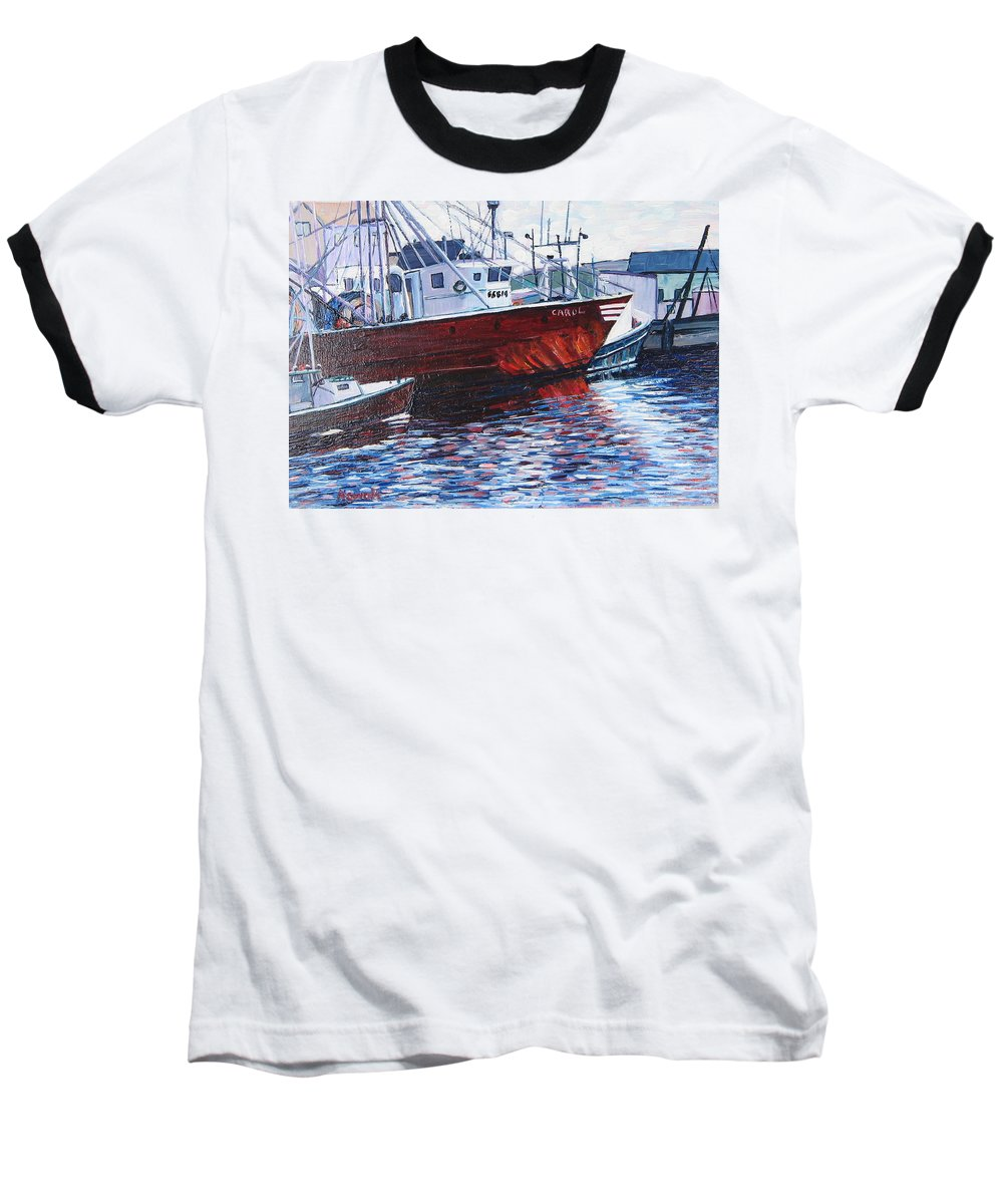 Boats Baseball T-Shirt featuring the painting Red Boats by Richard Nowak