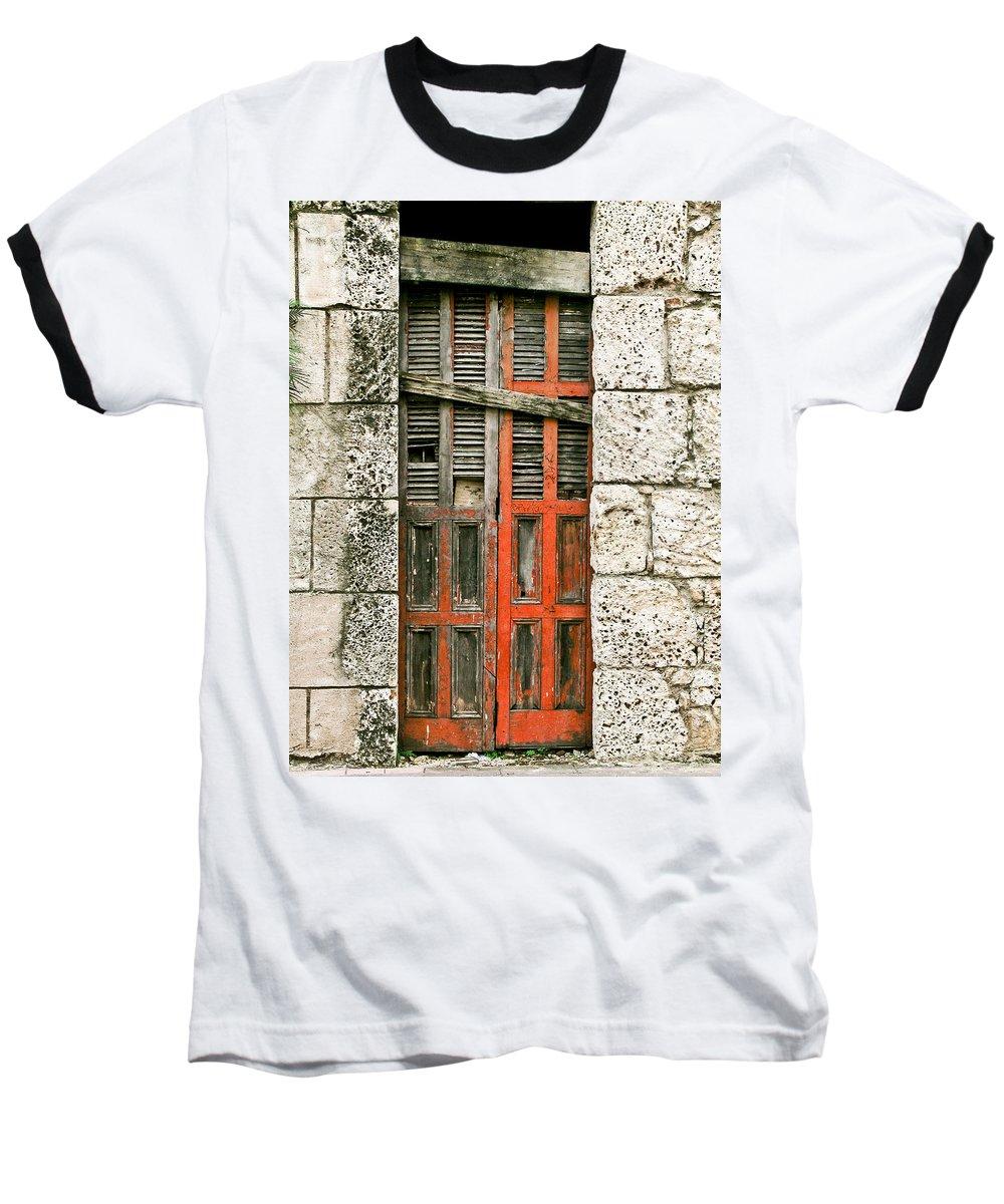Door Baseball T-Shirt featuring the photograph Red Door by Douglas Barnett