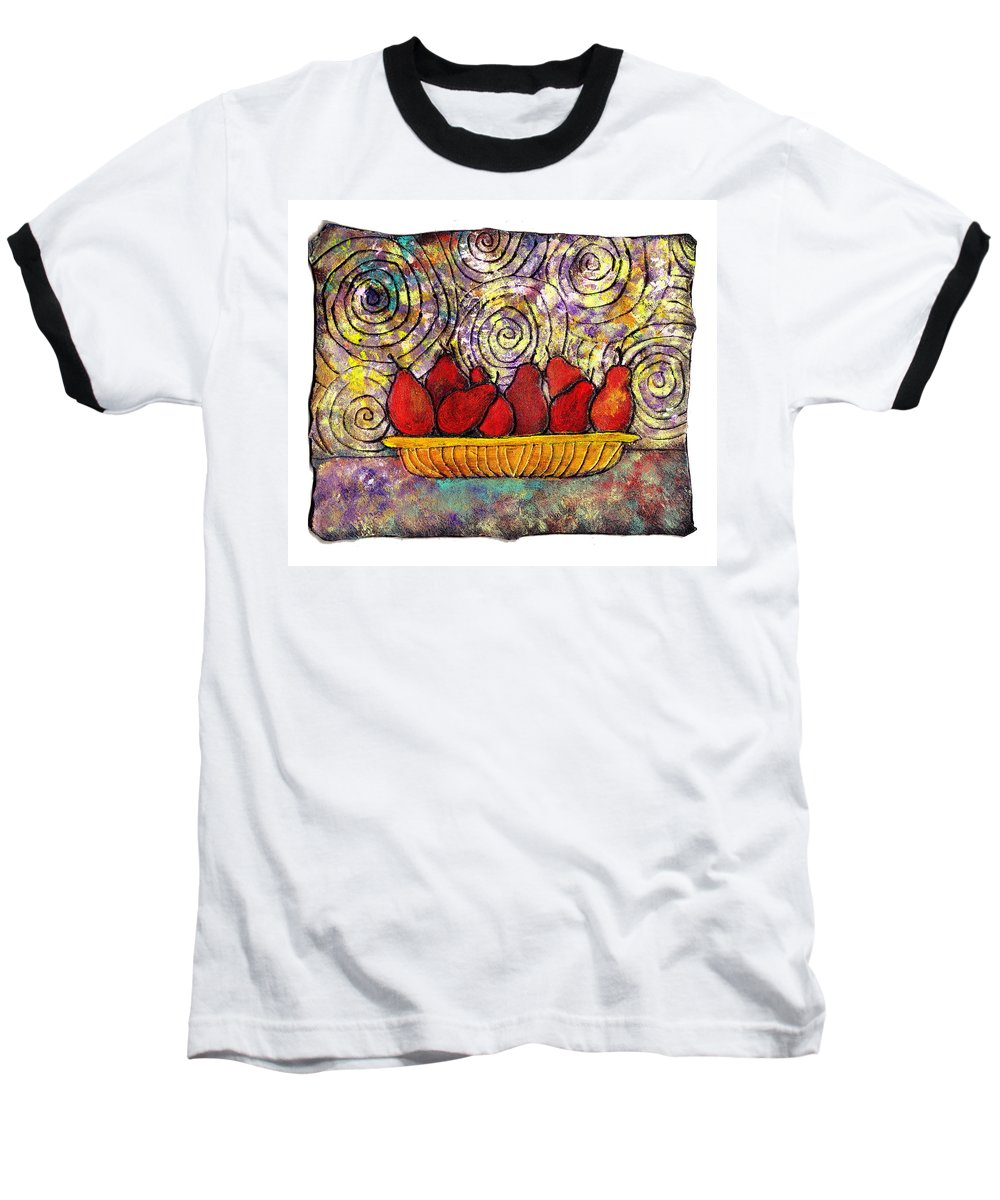 Spirals Baseball T-Shirt featuring the painting Red Pears In A Bowl by Wayne Potrafka