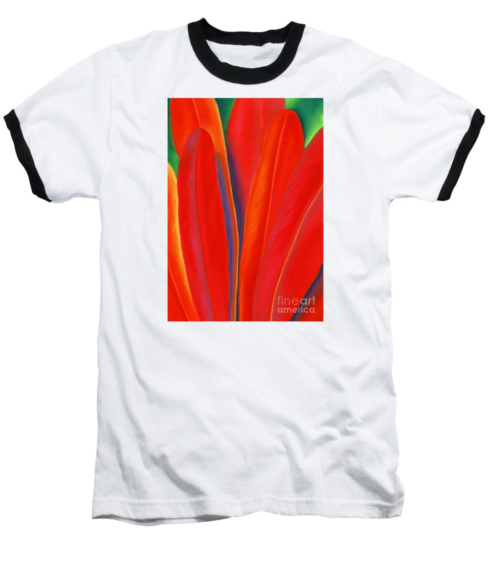 Red Baseball T-Shirt featuring the painting Red Petals by Lucy Arnold