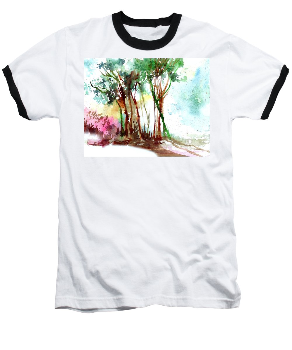 Landscape Baseball T-Shirt featuring the painting Red Trees by Anil Nene