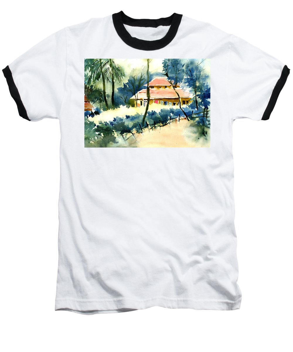 Landscape Baseball T-Shirt featuring the painting Rest House by Anil Nene