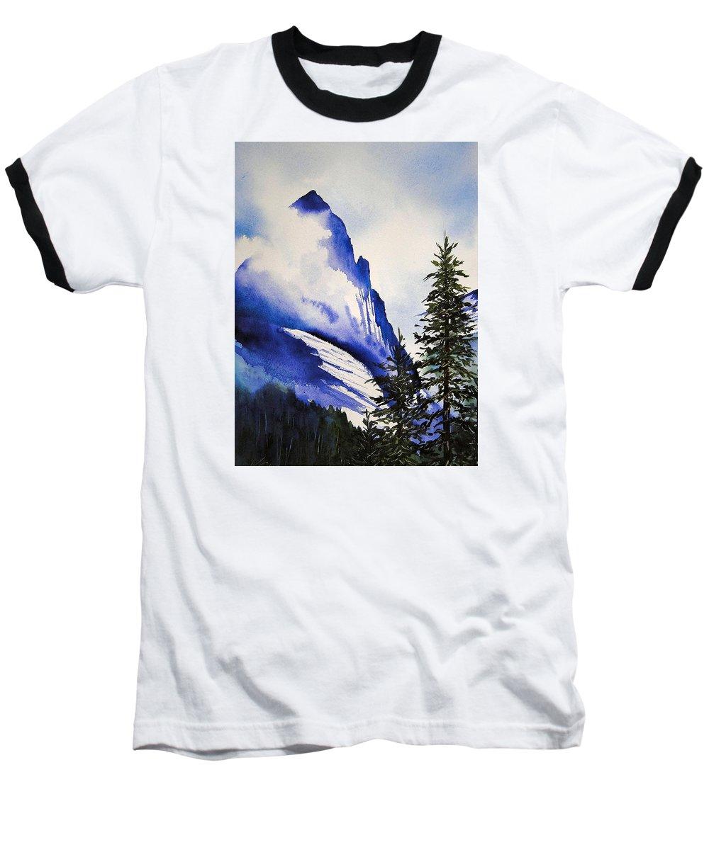 Rocky Mountains Baseball T-Shirt featuring the painting Rocky Mountain High by Karen Stark