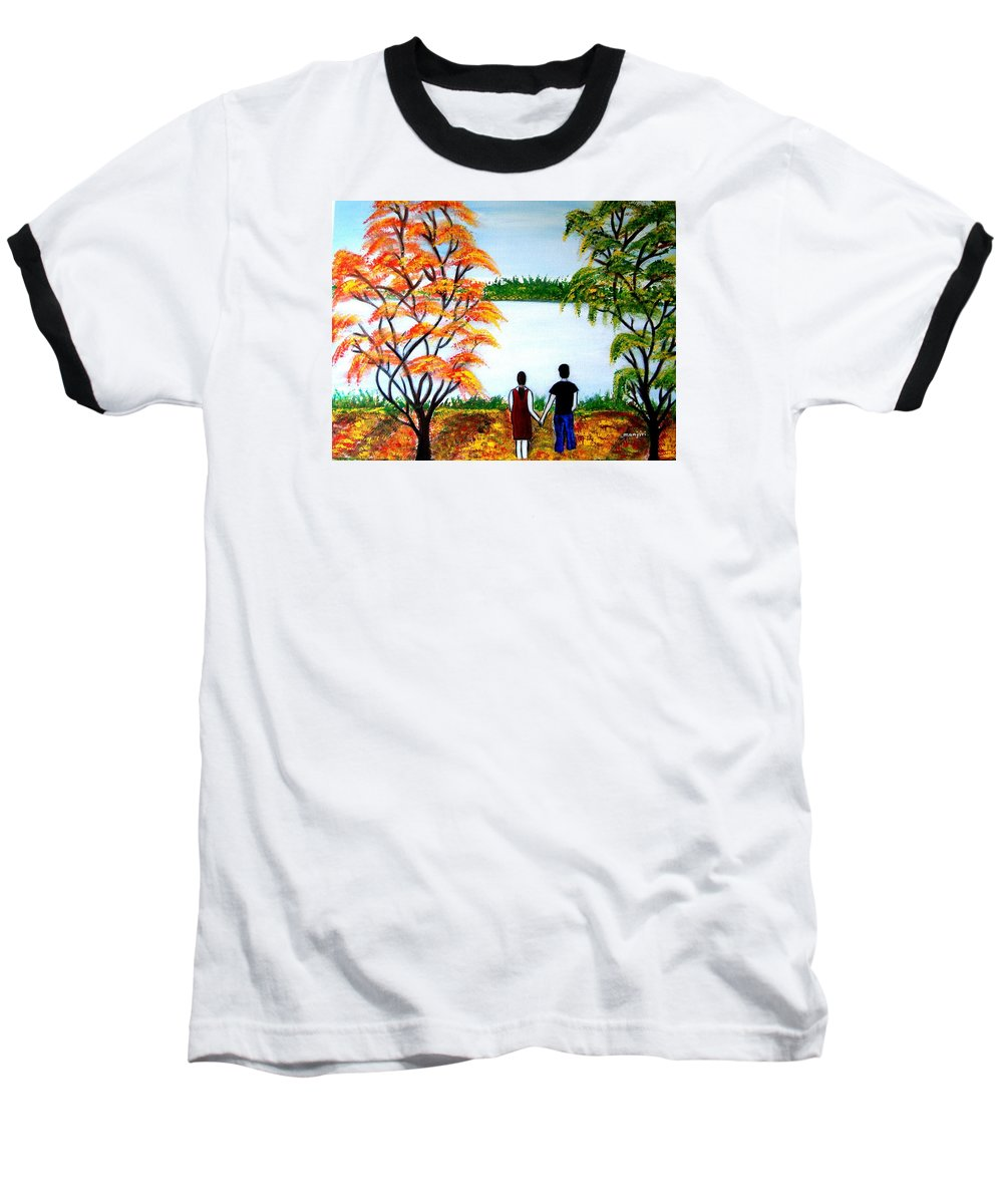 Romance Figures Autumn Orange Trees Green Pop Water Lake Love Valentine Yellow Lake Spring Bloom Baseball T-Shirt featuring the painting Romance In Autumn by Manjiri Kanvinde