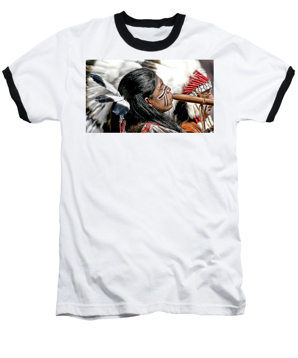 American Indian Baseball T-Shirt featuring the photograph Sacred Flute by Donovan Torres