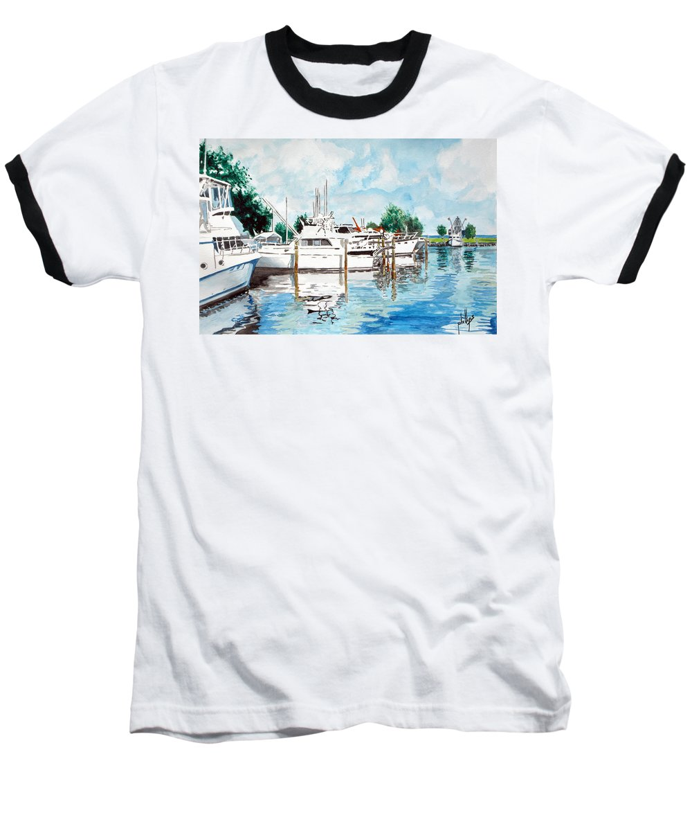 Boats Harbor Coastal Nautical Baseball T-Shirt featuring the painting Safe Harbor by Jim Phillips