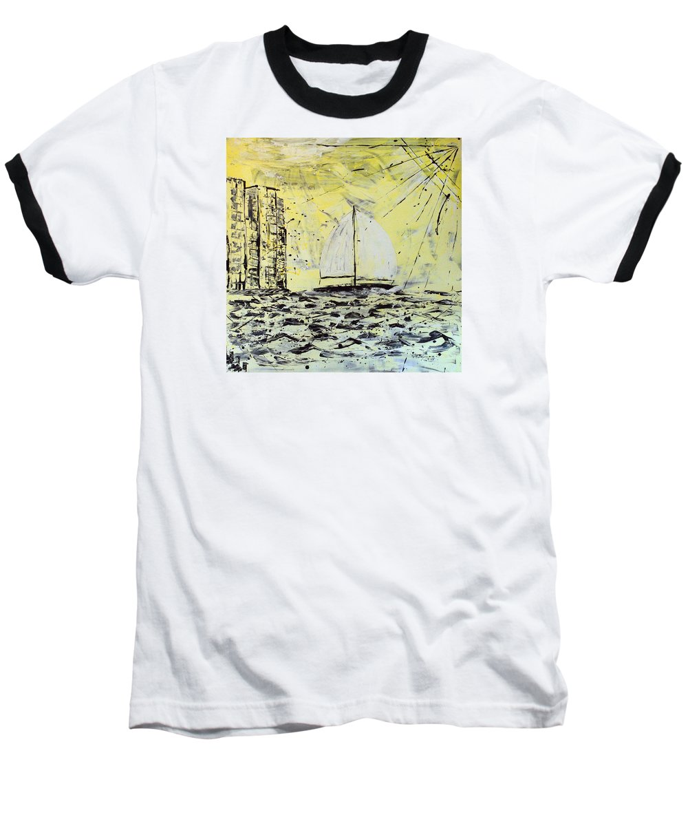 Sailboat With Sunray Baseball T-Shirt featuring the painting Sail And Sunrays by J R Seymour