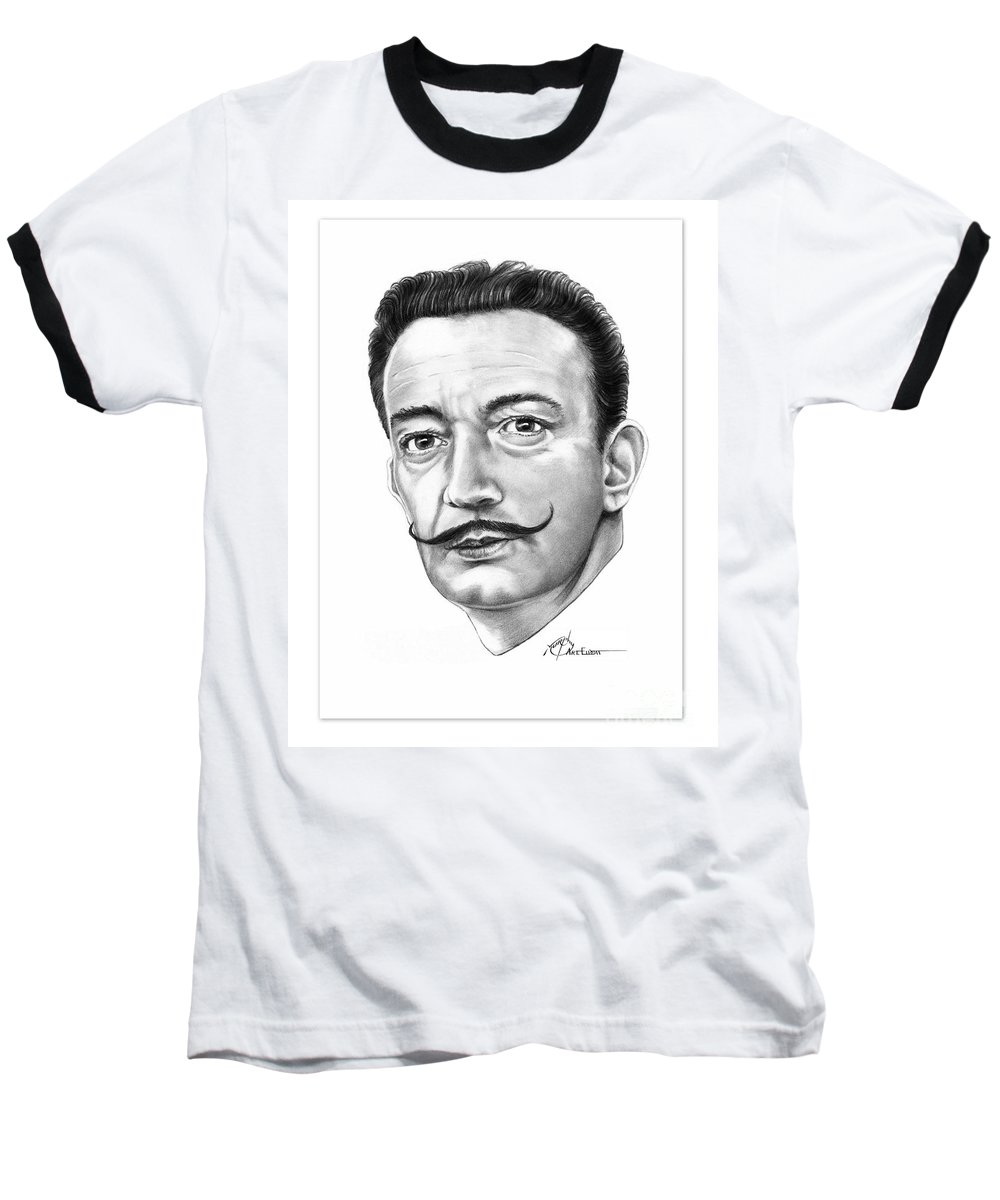 Salvador Dali Baseball T-Shirt featuring the drawing Salvador Dali by Murphy Elliott