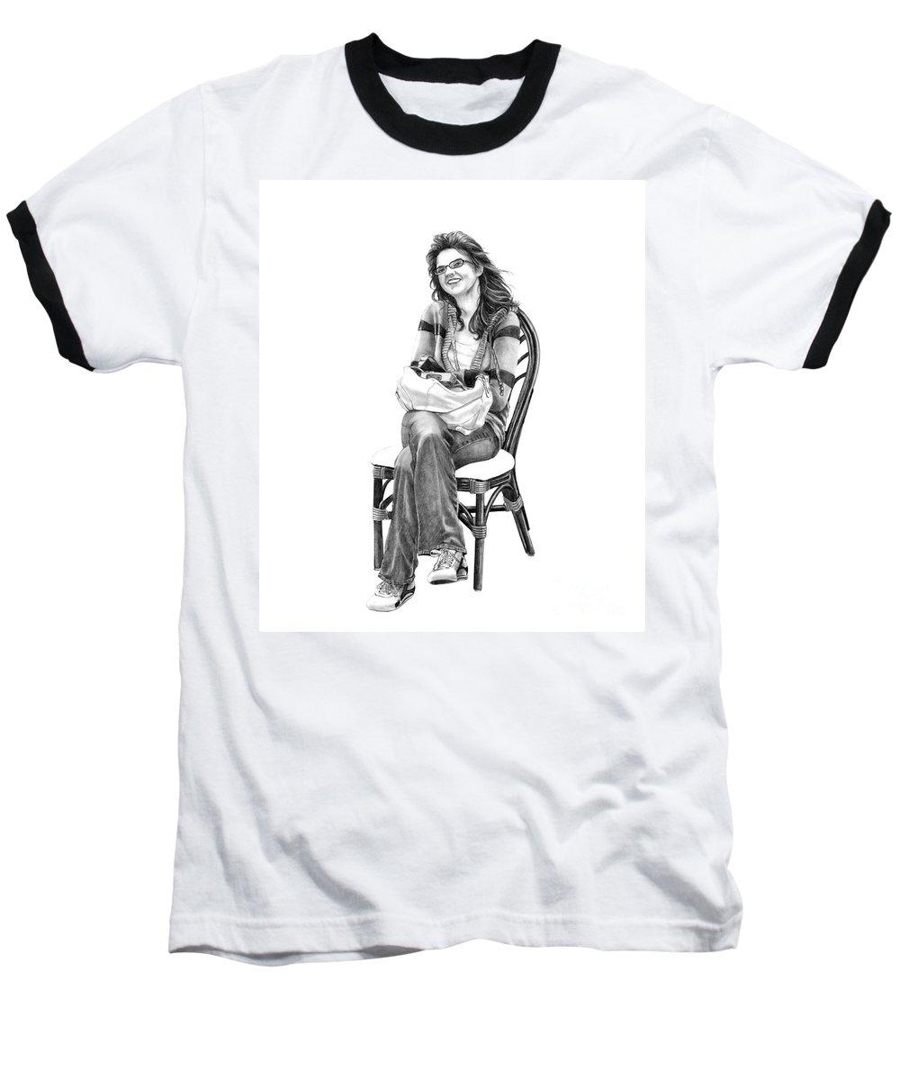 Figure Drawing Baseball T-Shirt featuring the drawing Samantha Jonice Elliott by Murphy Elliott
