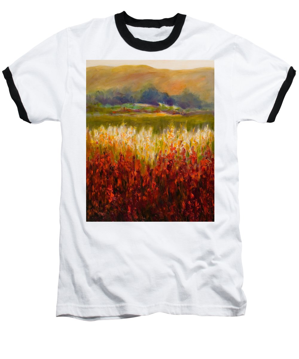 Landscape Baseball T-Shirt featuring the painting Santa Rosa Valley by Shannon Grissom