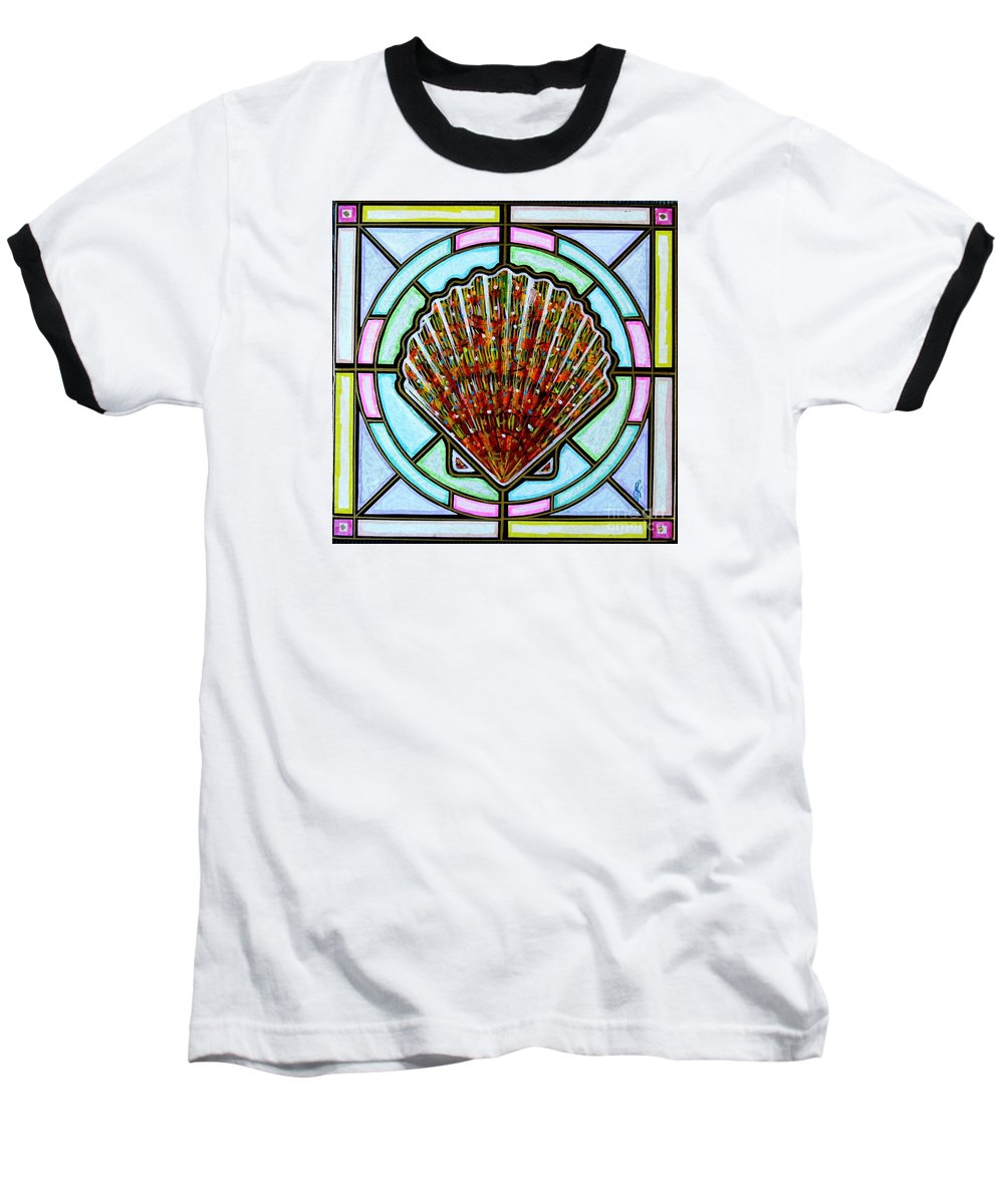 She Shells Baseball T-Shirt featuring the painting Scallop Shell 1 by Jim Harris