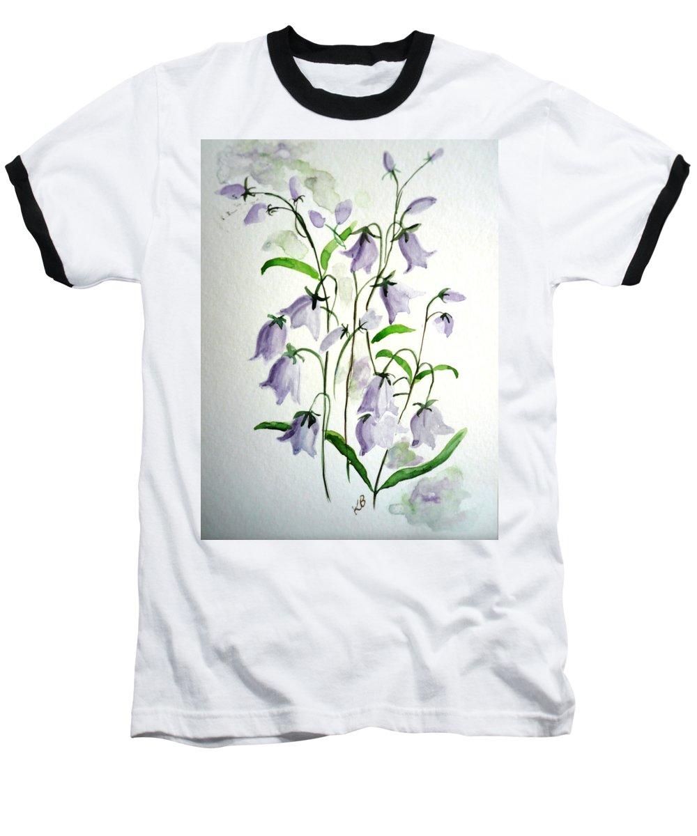Blue Bells Hare Bells Purple Flower Flora Baseball T-Shirt featuring the painting Scottish Blue Bells by Karin Dawn Kelshall- Best