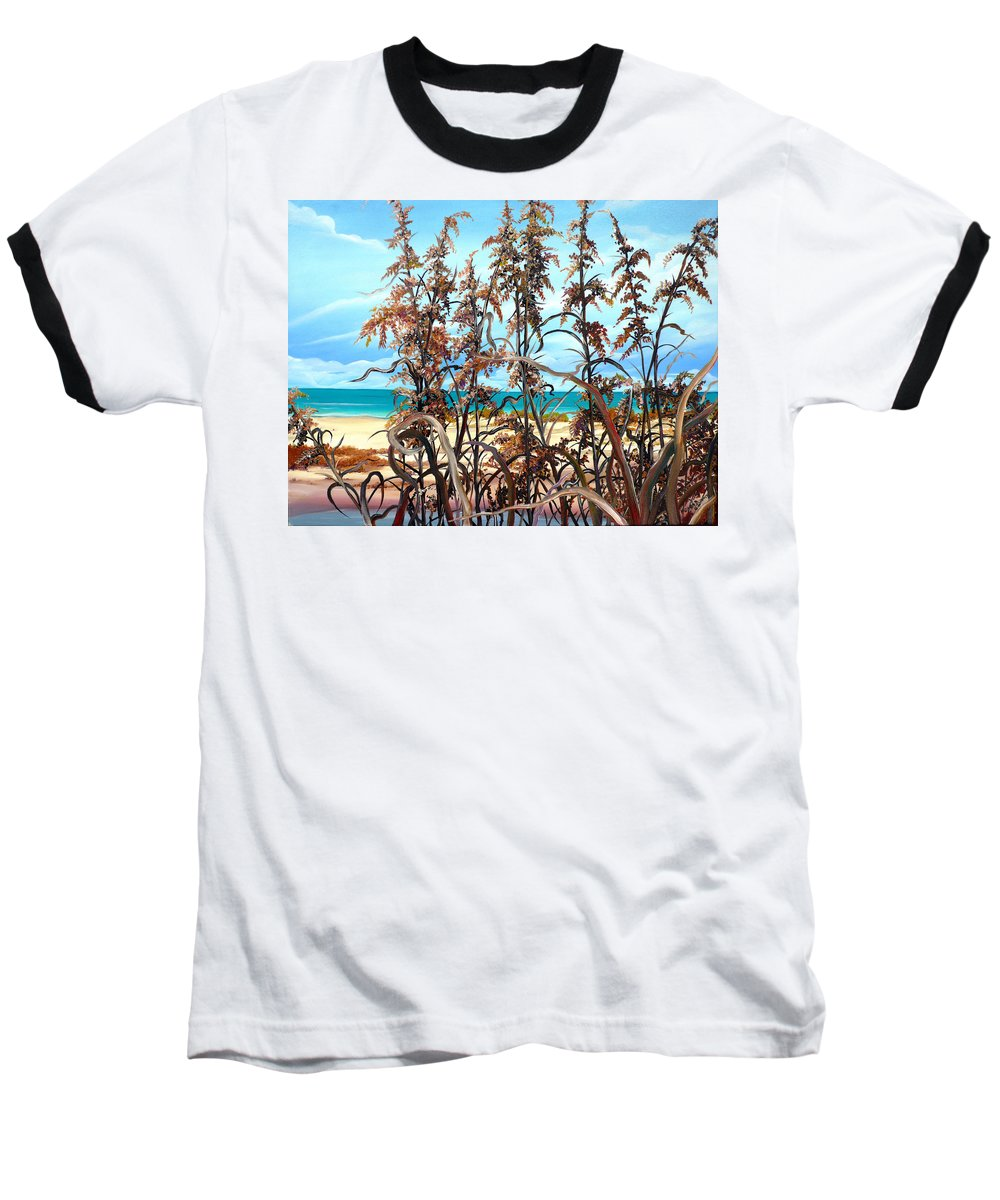 Ocean Painting Sea Oats Painting Beach Painting Seascape Painting Beach Painting Florida Painting Greeting Card Painting Baseball T-Shirt featuring the painting Sea Oats by Karin Dawn Kelshall- Best