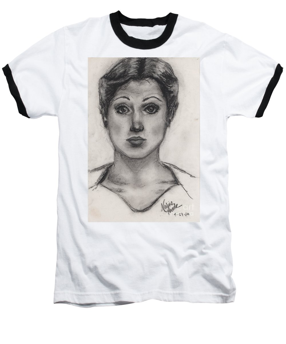 Nadine Baseball T-Shirt featuring the drawing Self Portrait At Age 18 by Nadine Rippelmeyer