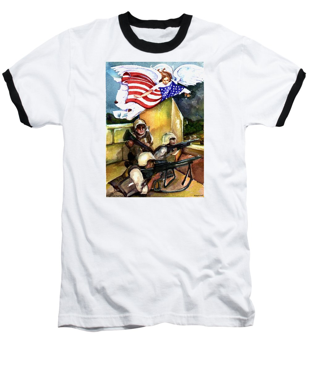 Elle Fagan Baseball T-Shirt featuring the painting Semper Fideles - Iraq by Elle Smith Fagan