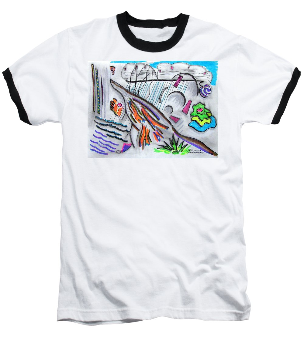 Abstract Drawing Baseball T-Shirt featuring the drawing Sensing The Precipice by J R Seymour