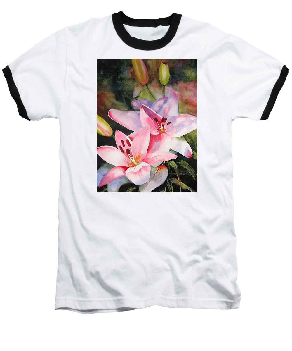 Lilies Baseball T-Shirt featuring the painting Shady Ladies by Karen Stark
