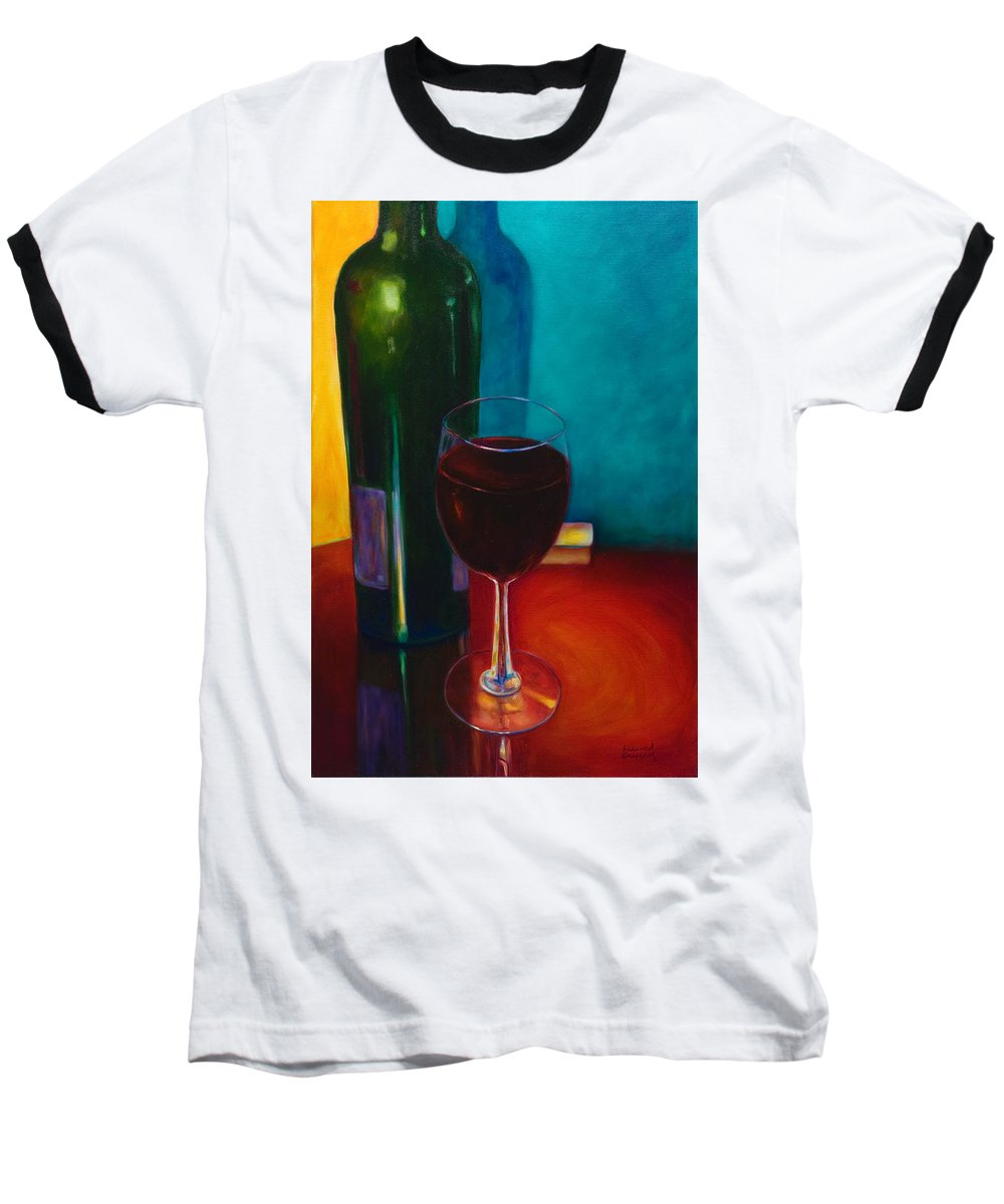 Wine Bottle Baseball T-Shirt featuring the painting Shannon's Red by Shannon Grissom