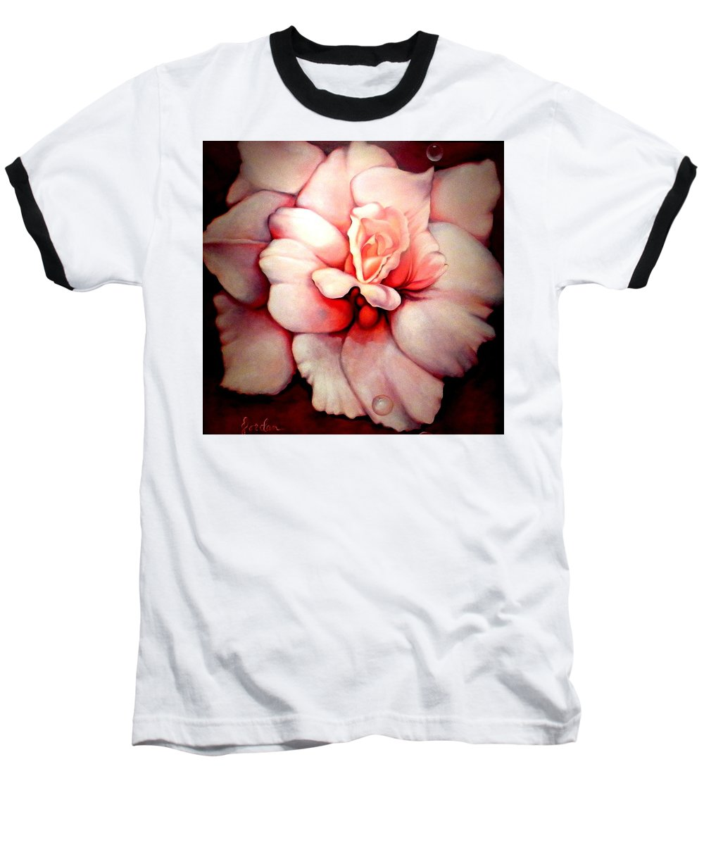 Blooms.large Rose Baseball T-Shirt featuring the painting Sheer Bliss by Jordana Sands