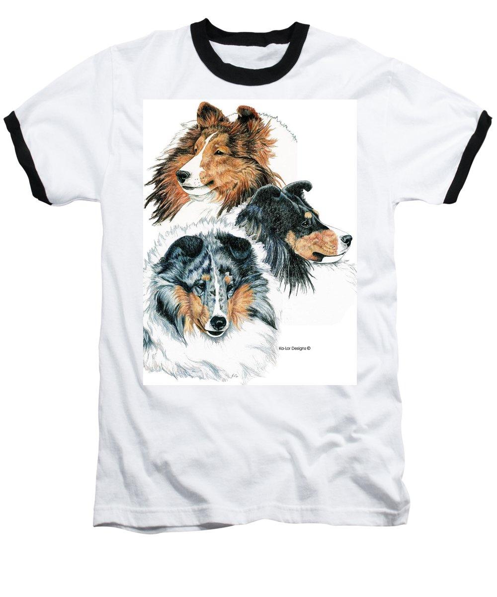 Shetland Sheepdog Baseball T-Shirt featuring the drawing Shetland Sheepdogs by Kathleen Sepulveda