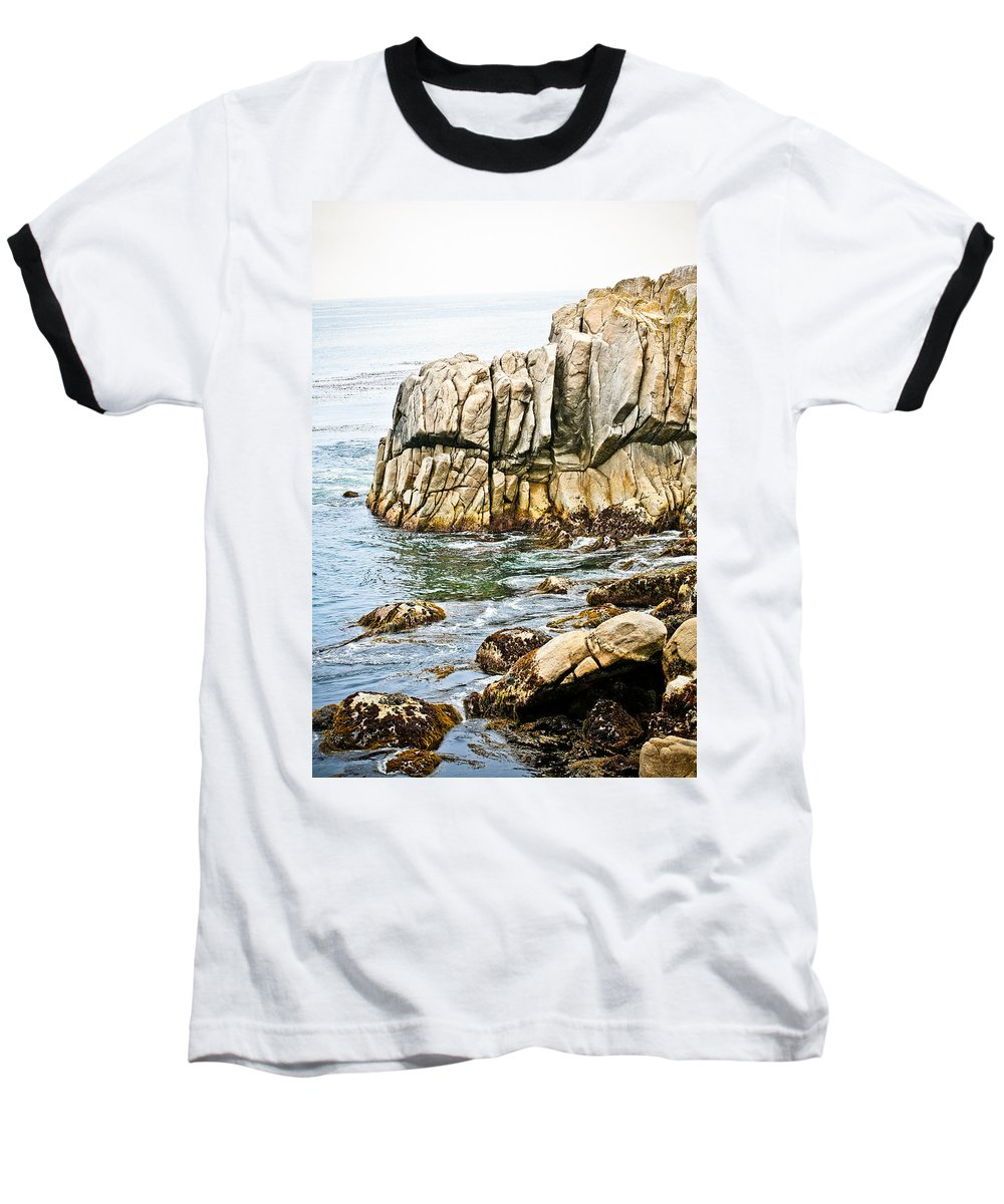Pebble Beach Baseball T-Shirt featuring the photograph Shores Of Pebble Beach by Marilyn Hunt
