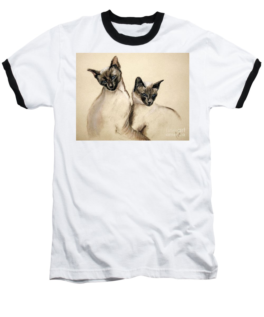 Cat Baseball T-Shirt featuring the drawing Sibling Love by Cori Solomon