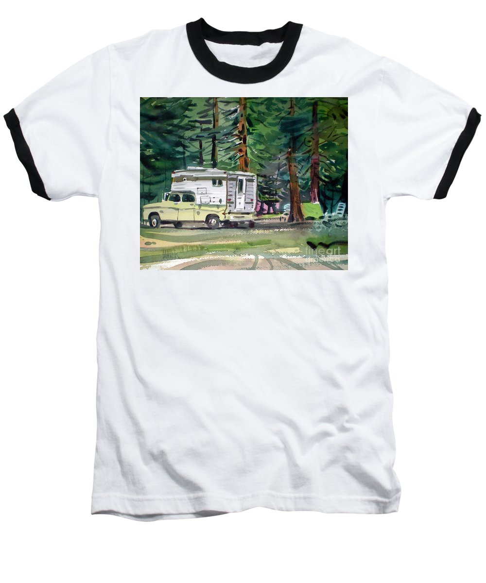 Camping Baseball T-Shirt featuring the painting Sierra Campsite by Donald Maier