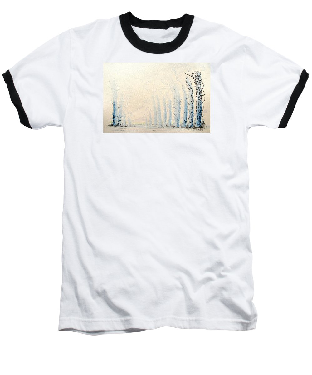 Watercolor Baseball T-Shirt featuring the painting Signals by Dave Martsolf