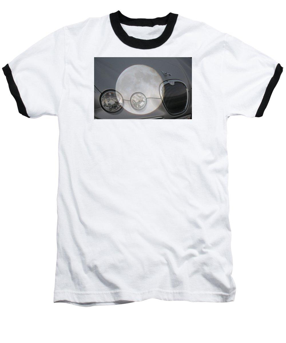 Car Baseball T-Shirt featuring the photograph Silver Moon Jaguar by J R  Seymour